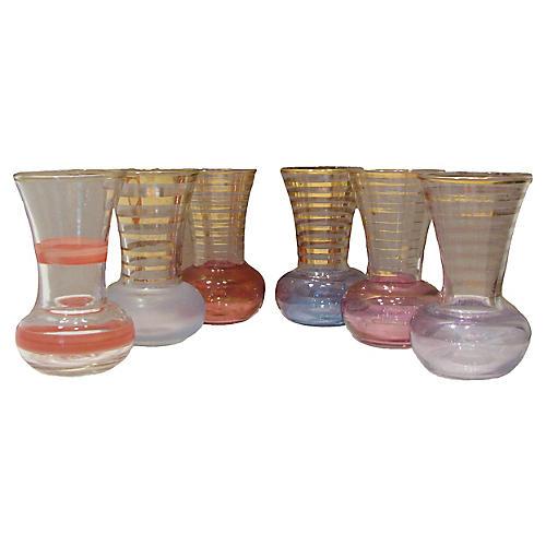 Bohemian Art Glass Vases, S/6