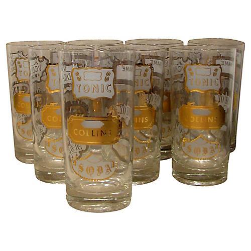 Midcentury Gilt Highball Glasses, S/8