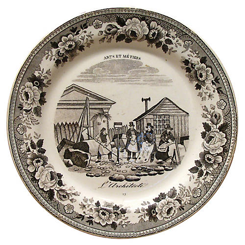 Antique French Architecture Plate