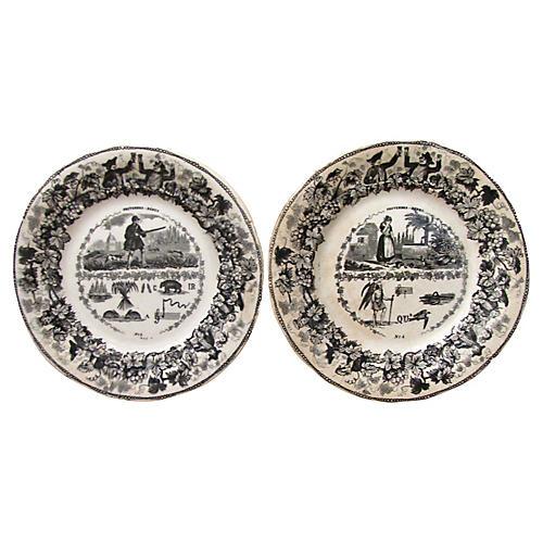 Antique French Rebus Plates, Pair
