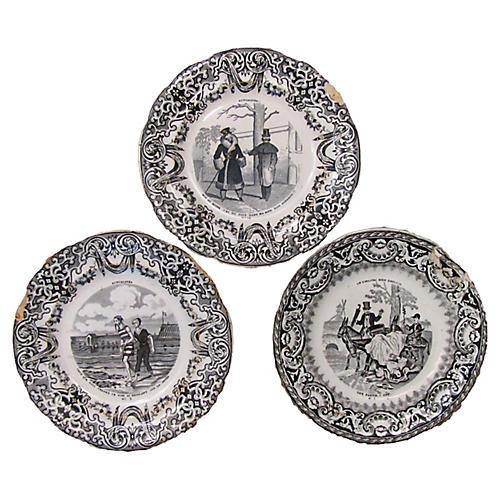Antique Gien Transferware Plates, S/3