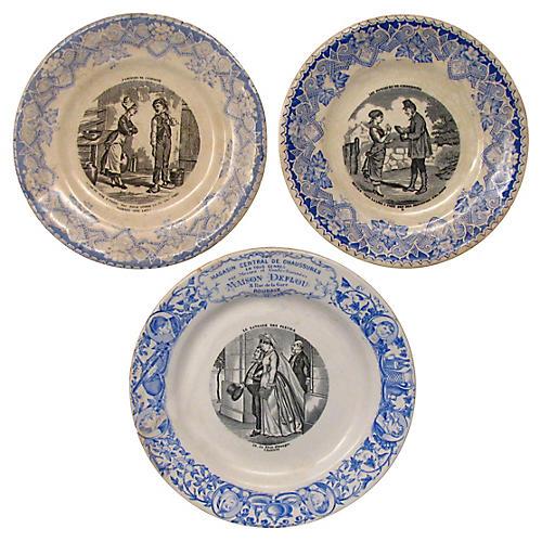 Antique Blue & White Plates, S/3