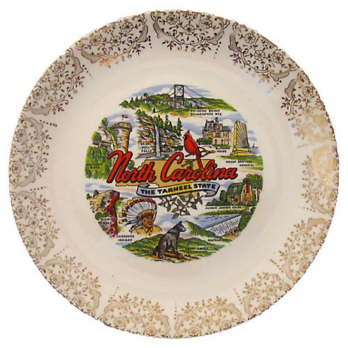 Midcentury North Carolina Souvenir Plate