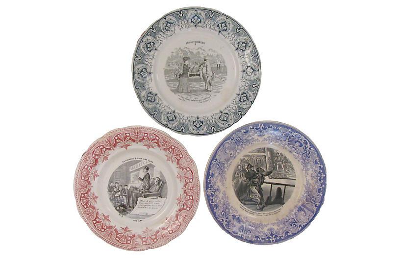 French Transferware Plates, S/3