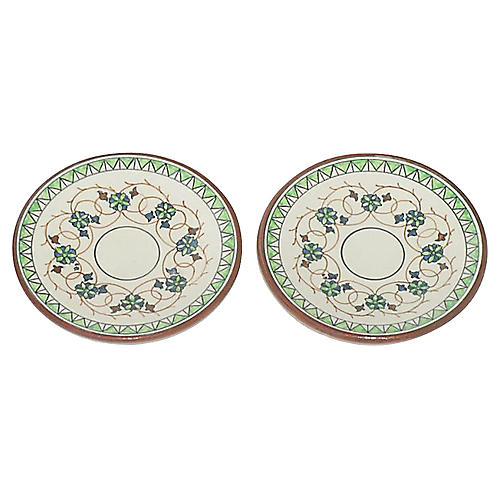 Handpainted Terracotta Tapas Plates Pair