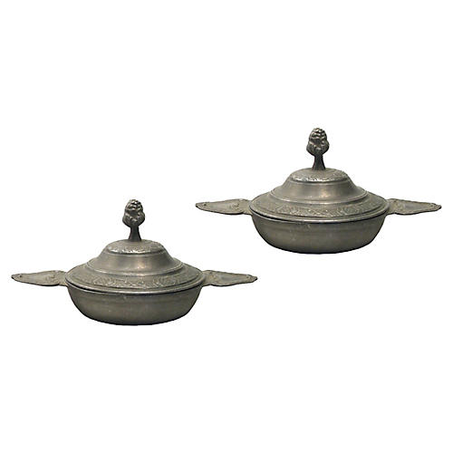 French Pewter Lidded Bowls, Pair