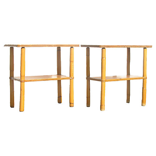 Midcentury Bamboo Side Tables, Pair