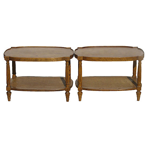Heritage Burl & Cane Side Tables, Pair