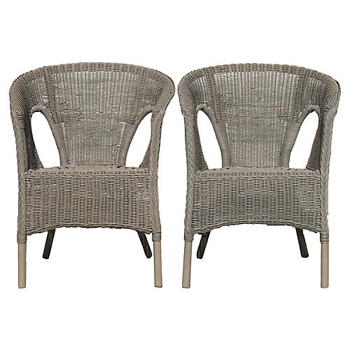 Gray Wicker Stackable Armchairs, Pair