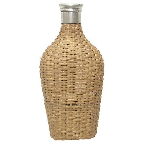 French Wicker & Glass Flask