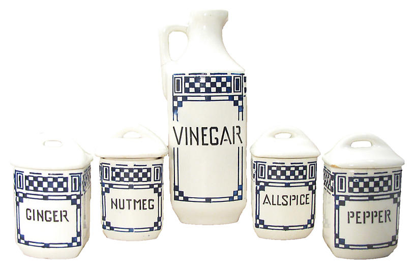 Art Deco Blue & White Canisters, S/5