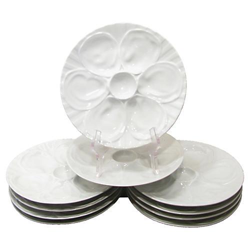White Porcelain Oyster Plates, S/10