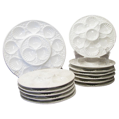 Lonchamps Oyster Plates & Platter, S/13