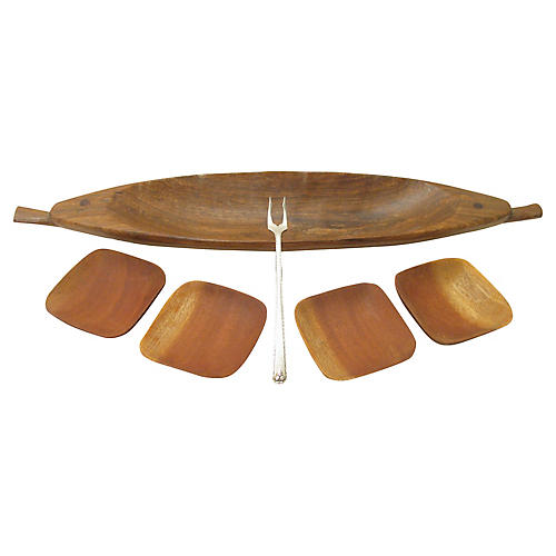 French Teak Olive Serving Set, S/6