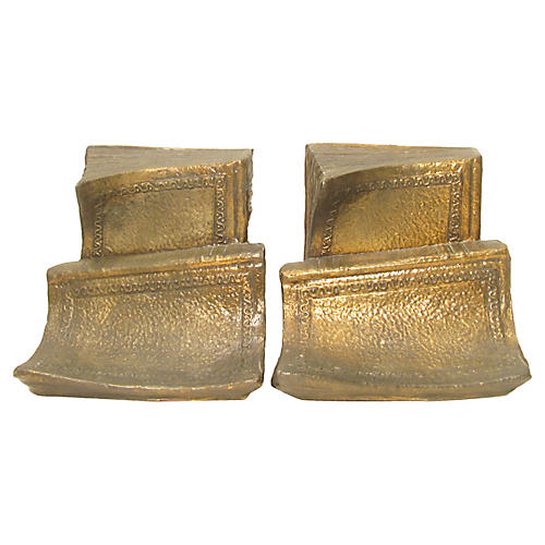 Bronze Book-Form Bookends, Pair