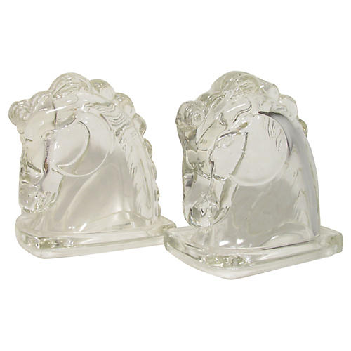 Glass Horse Bookends, Pair