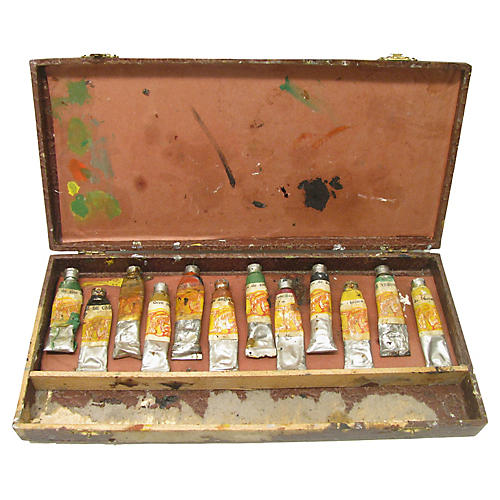 French Artist's Box & Paints, S/13