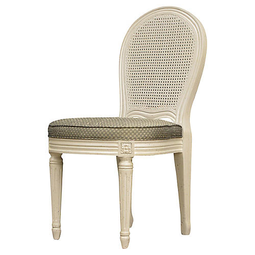 French Painted Cane Accent Chair