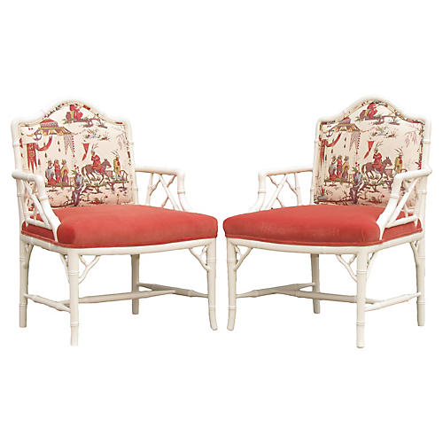 Faux Bamboo Chinoiserie Chairs, Pair