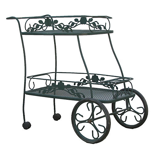 Midcentury Wrought Iron Patio Bar Cart