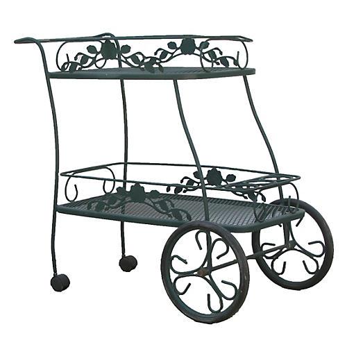Midcentury Wrought Iron Patio Bar Cart