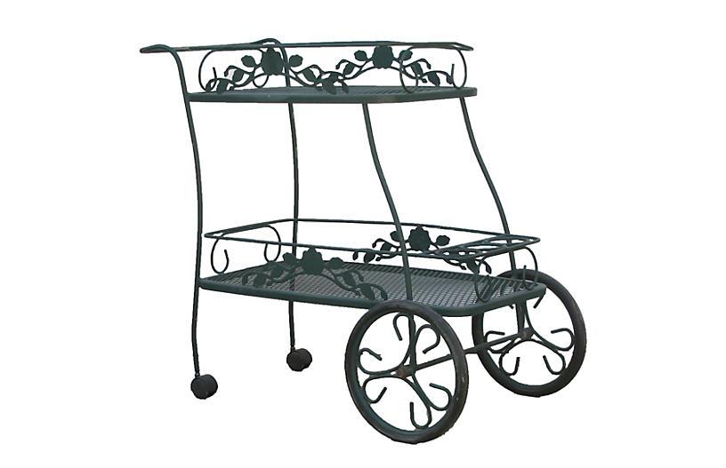 Woodward Style Iron Patio Bar Cart