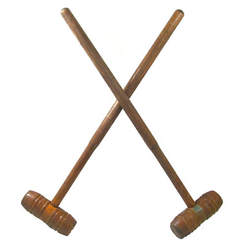 Antique English Oak Croquet Mallets, S/2