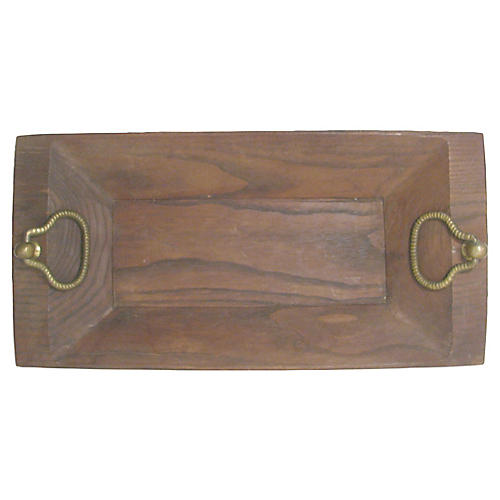 Italian Wood Tray w/ Brass Handles
