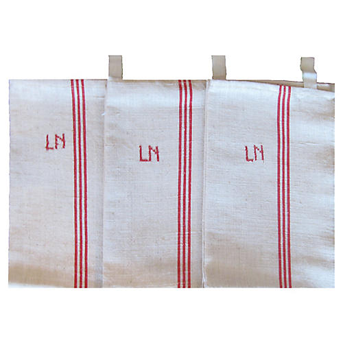 French Monogrammed 'LN' Torchons, S/3