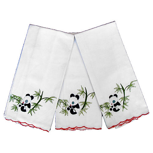 Asian Panda Guest Towels, S/3