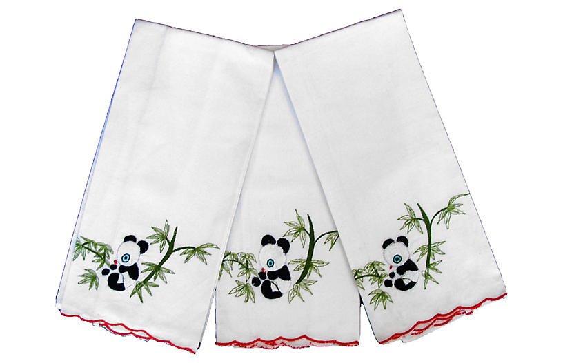 Asian Panda Guest Towels, S/3