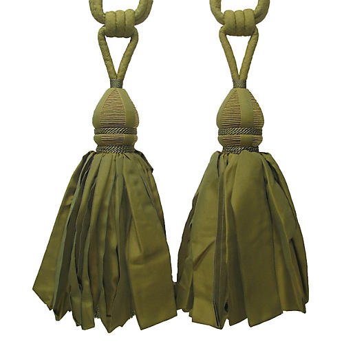 Green Tiebacks w/ Ballgown Tassel, Pair