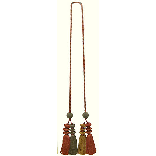 Paprika Chinoiserie Four Tassel Tie Back