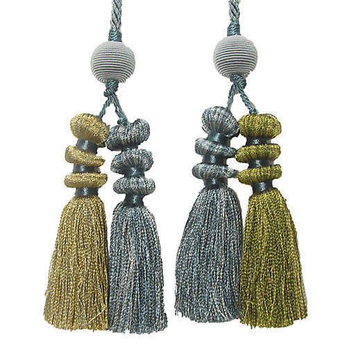 Silver Chinoiserie Four Tassel Tie Back