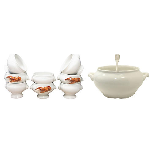 French Soup Tureen, Bowls, & Ladle, S/10