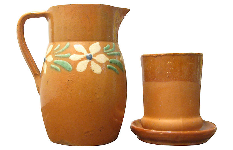 French Terracotta Pitcher Set, 3 Pcs