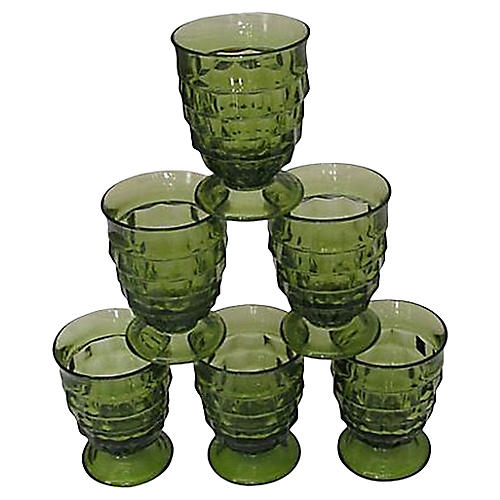 Green Faceted Footed Goblets, S/6