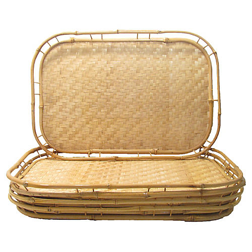 Vintage Bamboo & Cane Trays, S/6