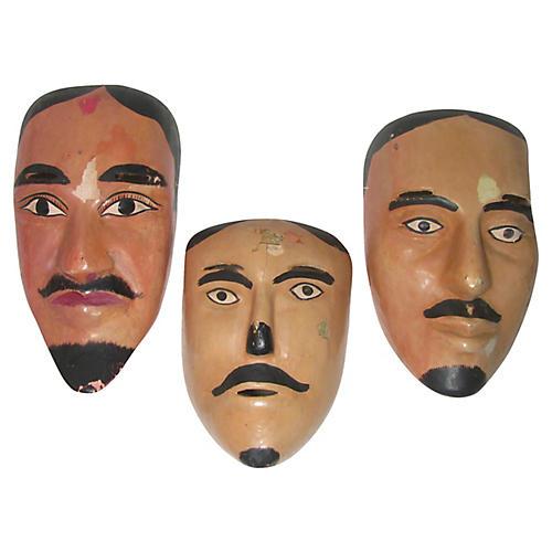 Carved Mexican Folk Art Masks, S/3