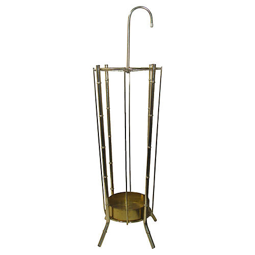 Brass Faux Bamboo Umbrella Stand