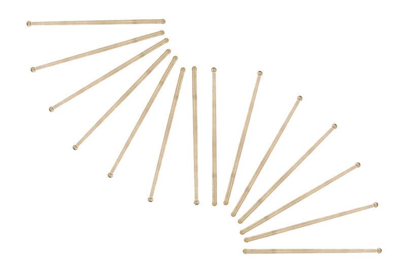 Mid-Century Glass Swizzle Sticks, S/12
