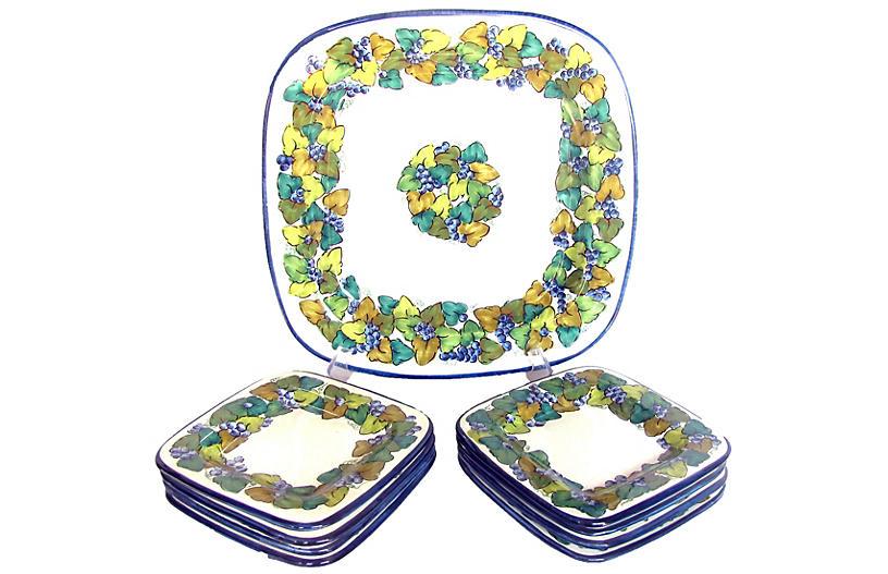 Italian Pottery Platter & 8 Plates, S/9