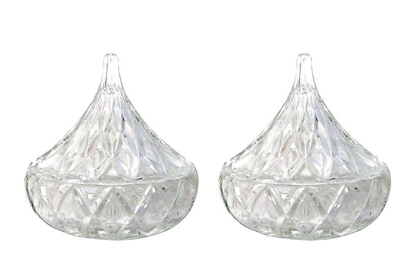 Crystal Teardrop Lidded Bowls, Pair