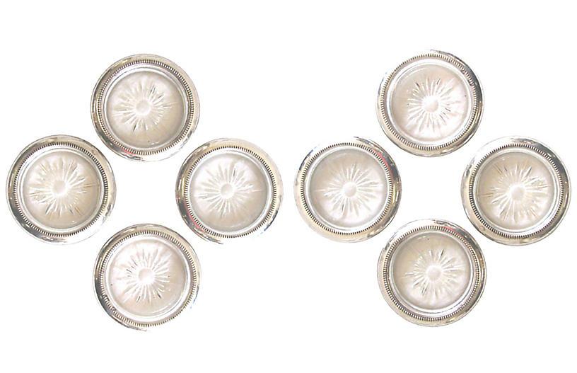 Italian Silverplate/Glass Coasters S/8