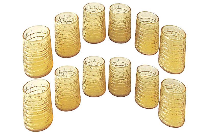 Midcentury Bamboo Juice Glasses S/12