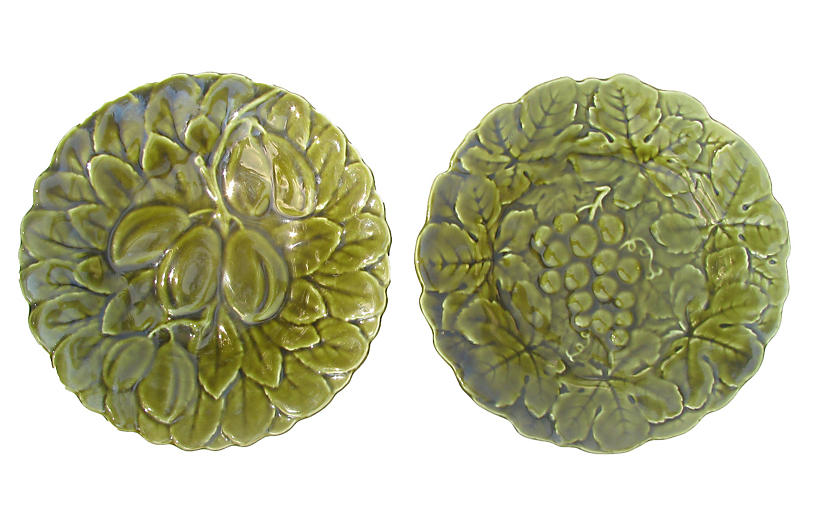 French Majolica Plates, Pair