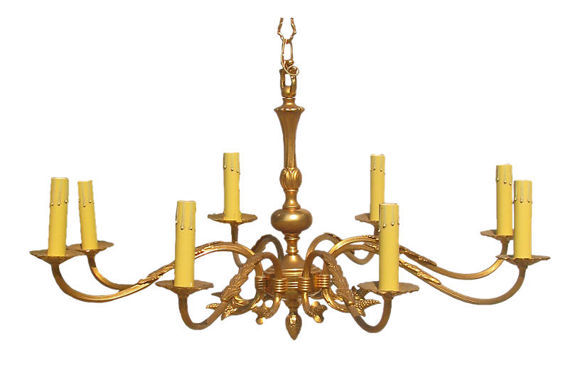 Large Vintage French 8-Arm Chandelier