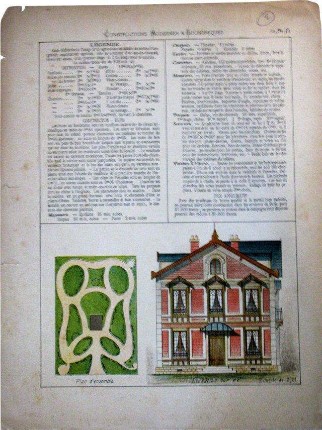 Farmhouse & Gardens Lithograph, 1880