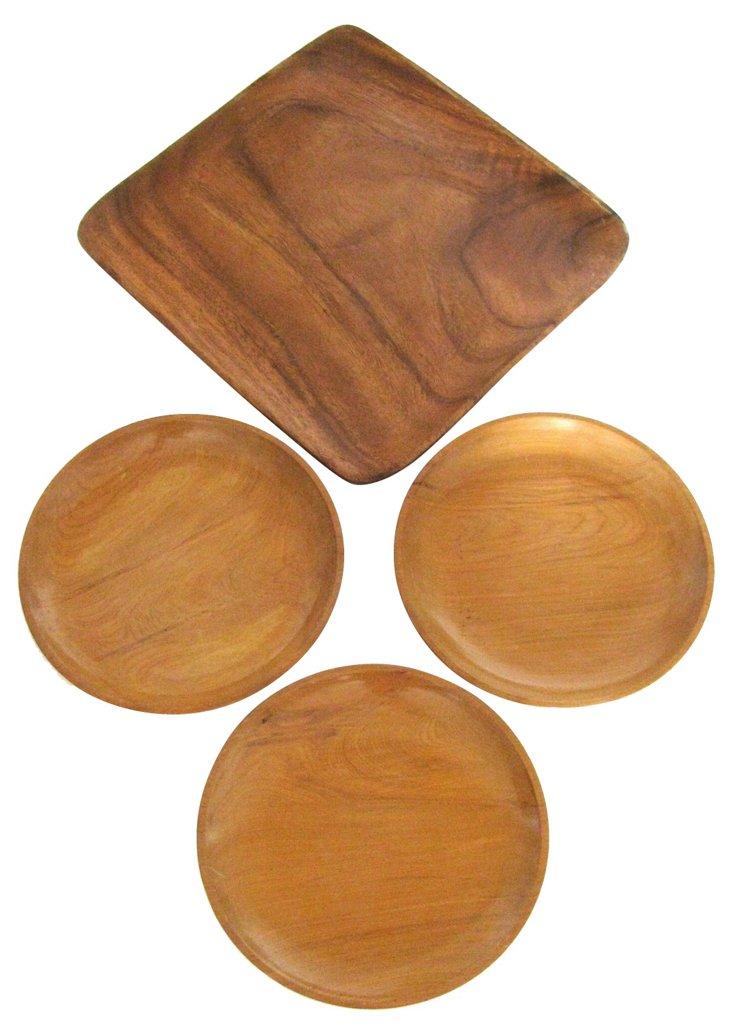 Midcentury Wood Serving Platters, S/4