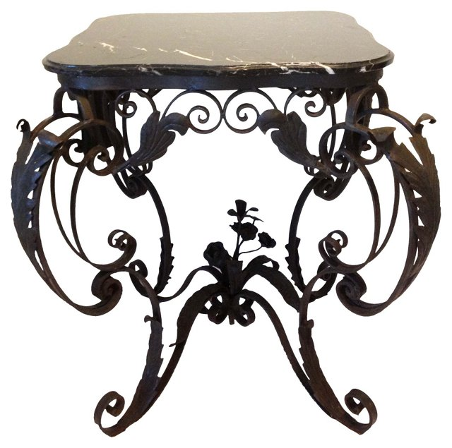 French Iron & Marble Center Table